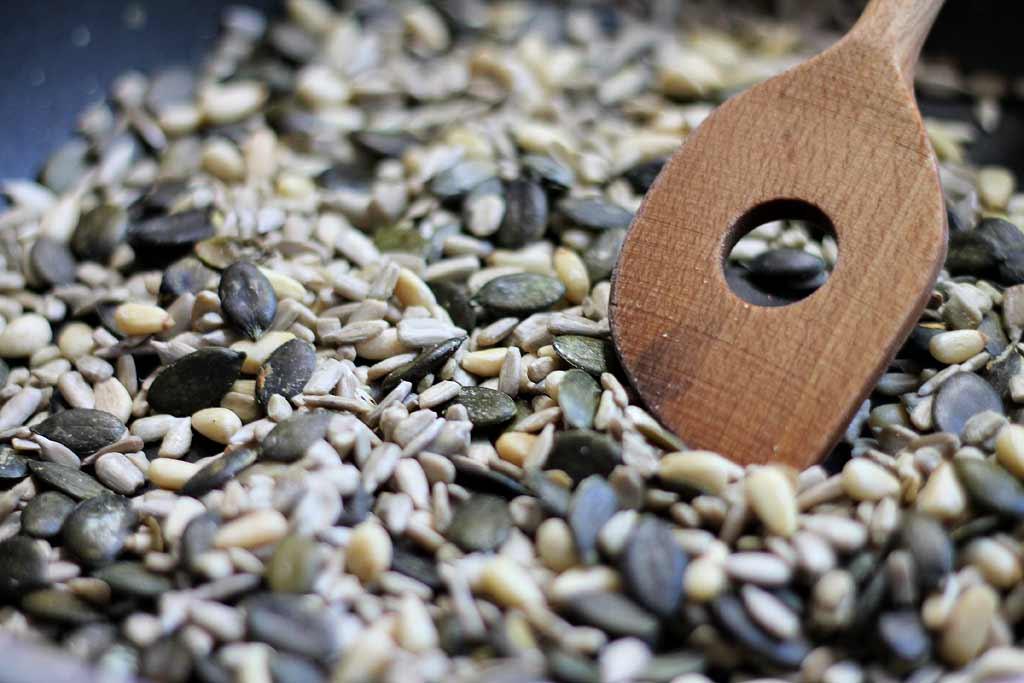 Knaeckebrot-aus-Samen-und-Koerner-Koerner-roesten
