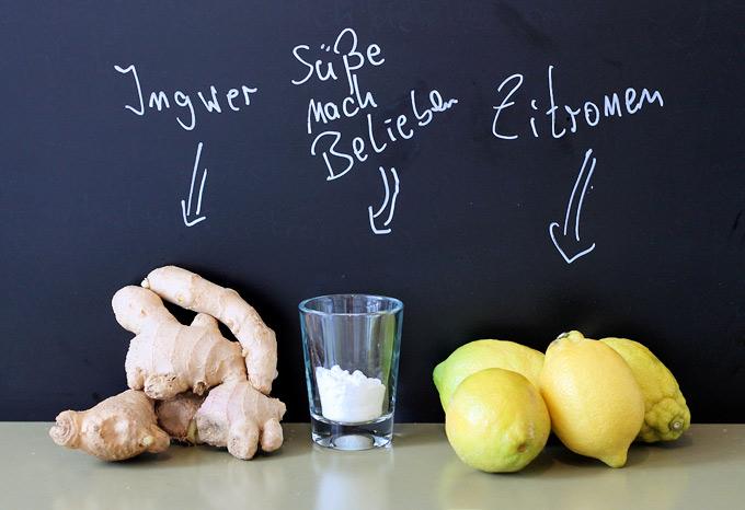 Ingwer-Zitronenlimonade-Zutaten