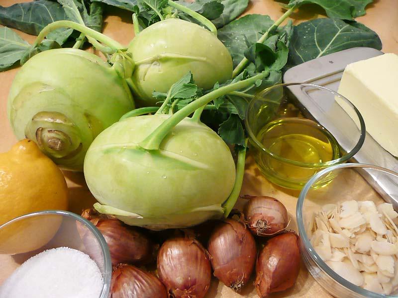 Kohlrabi-Cremesuppe-Zutaten